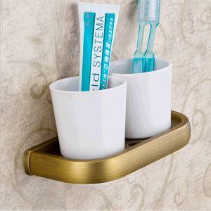 (Entrepôt UE) Salle de bains antique Support européen Cuivre Accessoires porte de Brosse à dents