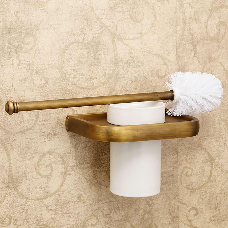 Porte de brosse toilettes en cuivre antique accessoires de for Accessoire salle de bain cuivre