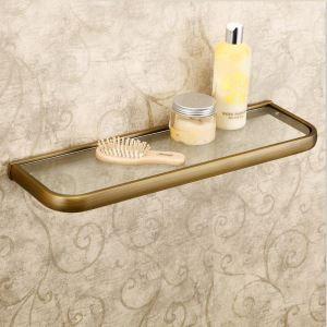 Etagère en verre cuivre antique L50cm pour salle de bain