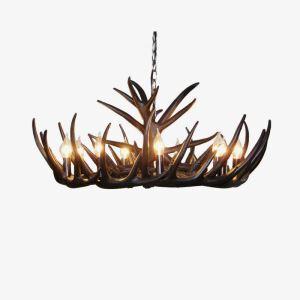 (Entrepôt UE) Rustique Cascade Ramure en Vedette Lustre suspension de cerf en résine avec 9 Lumières Noir