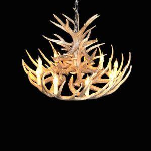 (Entrepôt UE) Rustique Cascade Ramure en Vedette Lustre suspension de cerf en résine avec 9 Lumières