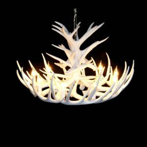 (Entrepôt UE)Rustique Cascade Ramure en Vedette Lustre suspension de cerf en résine avec 9 Lumières Blanc