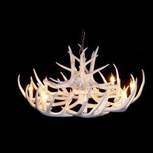 (Entrepôt UE) Rustique Cascade Ramure en Vedette Lustre suspension de cerf en résine avec 8 Lumières Blanc