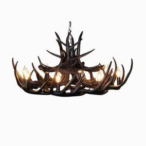 (Entrepôt UE) Rustique Cascade Ramure en Vedette Lustre suspension de cerf en résine avec 8 Lumières Noir