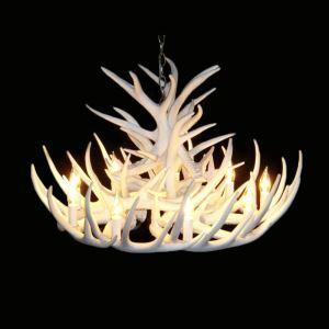 (Entrepôt UE) Rustique Cascade Ramure en Vedette Lustre suspension de cerf en résine avec 9 Lumières Blanc