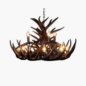 (Entrepôt UE) Rustique Cascade Ramure en Vedette Lustre suspension de cerf en résine avec 12 Lumières Noir