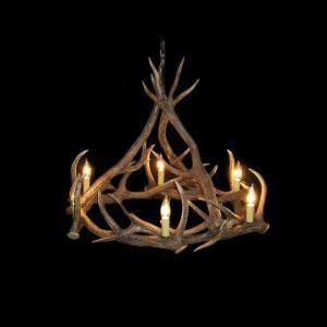 (Entrepôt UE) Rustique Cascade Ramure en Vedette Lustre suspension de cerf en résine avec 6 Lumières