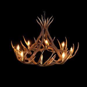 (Entrepôt UE) Rustique Cascade Ramure en Vedette Lustre suspension de cerf en résine avec 8 Lumières