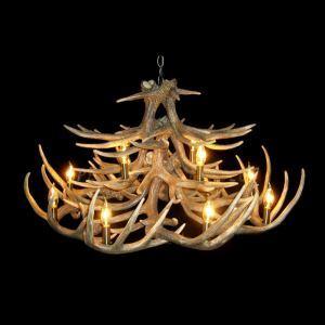 (Entrepôt UE) Rustique Cascade Ramure en Vedette Lustre suspension de cerf en résine avec 12 Lumières