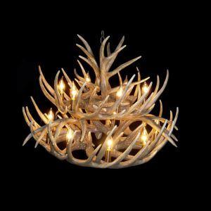 (Entrepôt UE) Rustique Cascade Ramure en Vedette Lustre suspension de cerf en résine avec 15 Lumières