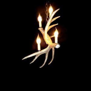 (Entrepôt UE) Lustre suspension bois de cerf en résine à 4 Lampes