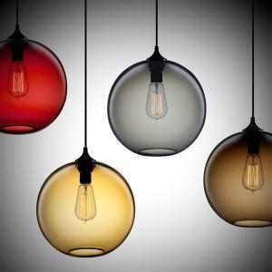Lustre 60W Pendentif moderne en Verre lampe en ronde en conception de bulle brun