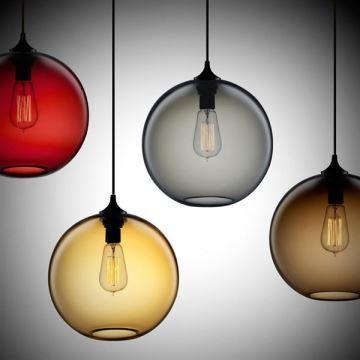 suspension boule en verre d25cm 60w moderne lampe bulle coloris luminaire cuisine d coratif pas cher. Black Bedroom Furniture Sets. Home Design Ideas