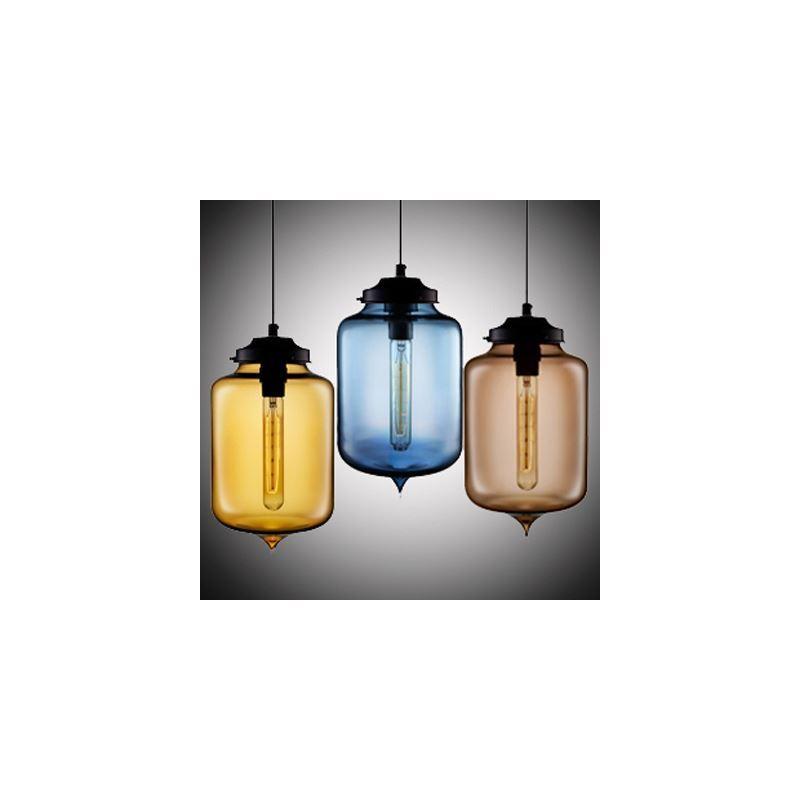 Suspension en verre coloris luminaire design bouteille - Suspension bouteille verre ...