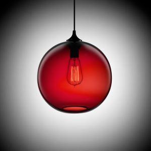 Suspension boule en verre H34cm bulle moderne rouge foncé pour chambre restaurant