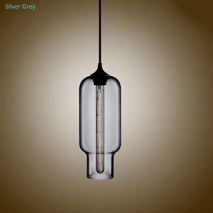 Suspension en verre lampe bulle gris H33cm luminaire coloris pour cuisine chambre salle
