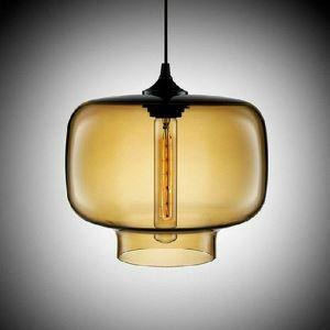 (Entrepôt UE) Lustre Moderne Suspension en verre soufflé à la main Lumière décorative luminaire cuisine bar restaurant coloris ambre