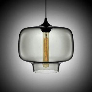 (Entrepôt UE) Suspension moderne en verre soufflé à la main Lumière Coloris gris argenté luminaire cuisine bar restaurant