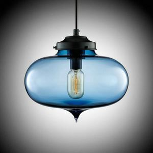 (Entrepôt UE) Lustre Moderne Transparent pendentif en verre soufflé à la main Lumière colorée en forme de Balle avec1 Lumière Lingot Couleur Bleu
