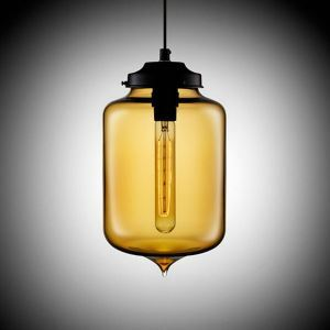 (Entrepôt UE) Lustre Moderne Transparent pendentif en verre soufflé à la main Lumière colorée ambre
