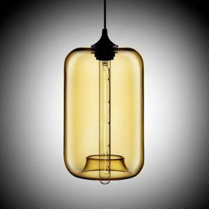 Suspension en verre colonne H34cm pour salle cuisine