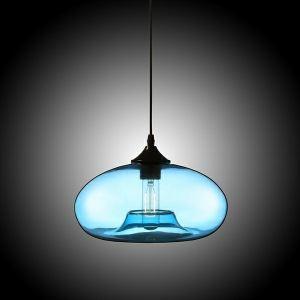 Suspension boule en verre D28cm cm bulle moderne bleu pour chambre restaurant