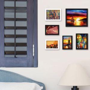 (Entrepôt UE) Style Champêtre Cadre de photo mural Collection en bois - Ensemble de 6 pièces