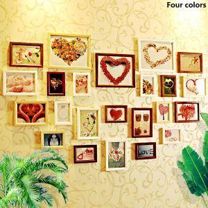 (Entrepôt UE) Style européen Cadre de photo mural en bois Collection - Ensemble de 23 pièces