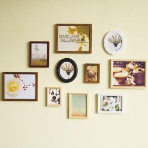 (Entrepôt UE) Style européen Cadre de photo mural Collection en bois- Ensemble de 10 pièces