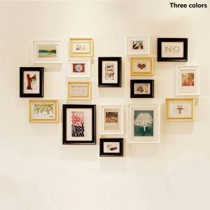 Nordique Cadre de photo Collection en bois mur - Ensemble de 17 pièces