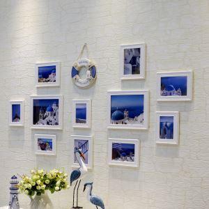 (Entrepôt UE) Style méditerranéen Cadre de photo mural Collection en bois - Ensemble de 11 pièces