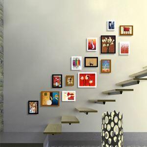 Cadre photo multivues 14 vues 165 x 150 cm 4 modèles décoration pour salle d'escalier moderne