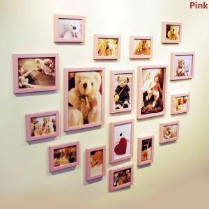 (Entrepôt UE) Nordique Cadre de photo Collection en bois mural - Ensemble de 17 pièces