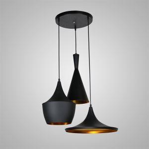 (Entrepôt UE) Lustre Plafonnier à 3 Lampes style Américain noir en aluminium luminaires cuisine restaurant pas cher