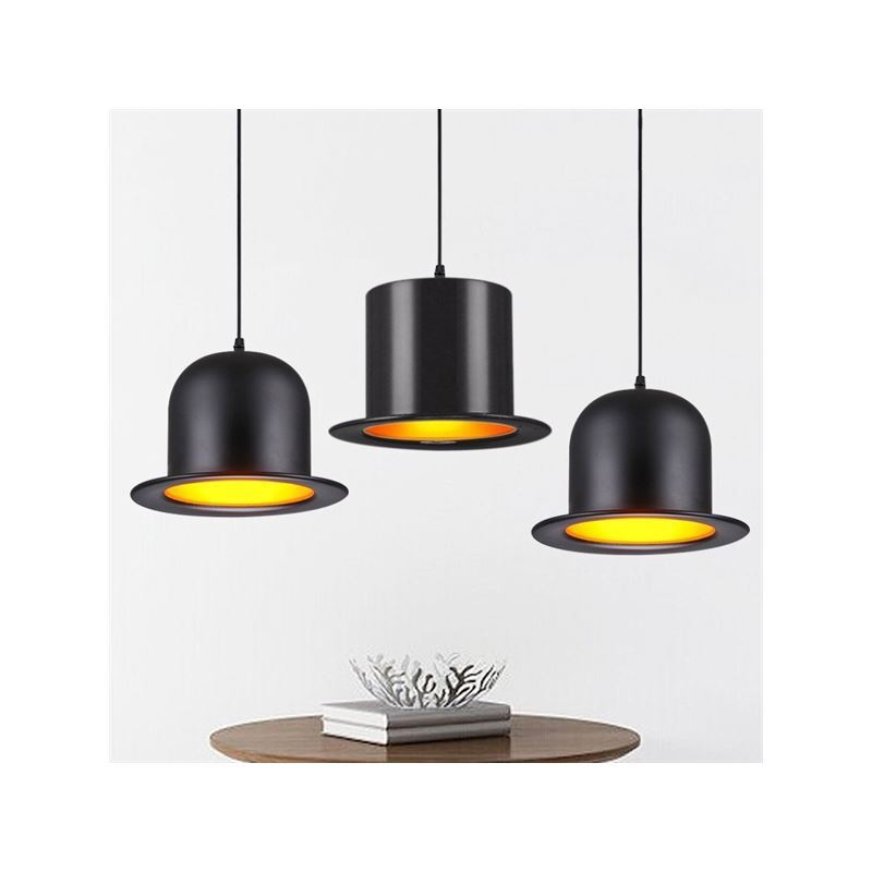Lustre design suspension aluminium lampe noir en forme de for Lustre cuisine noir