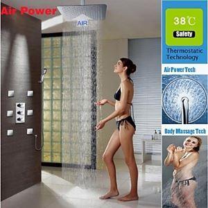 (Entrepôt UE) Douche Robinet Contemporain Thermostatique / Douche de pluie / spray côté / Douche à la main Incluse Encuivre Chromé