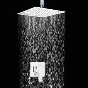 (Entrepôt UE) Douche Robinet Contemporain Douche de pluie en cuivre Chromé