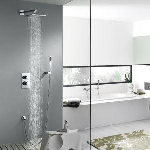 Colonne de douche encastrée thermostatique laiton chromé pour salle de bains