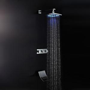 (Entrepôt UE) Douche Robinet Contemporain LED / Douche de pluie / Douche à la main Incluse en cuivre Chromé