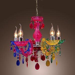 (Entrepôt UE)Artistique Acrylique Lustre cristal avec 5 lumières Chromé multi-couleur Design