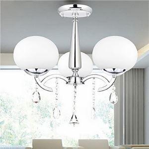 Lustre baroque cristal 3 lumières pour Salle Chambre à manger hôtel