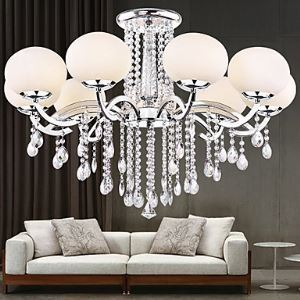 (Entrepôt UE) Lustre cristal 9 lampes Style moderne Cheteliers pour Salle Chambre à manger hôtel