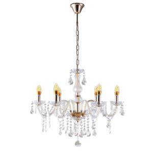 Lustre cristal à 6 lampes d'Or luminaire pour salon hôtel chambre