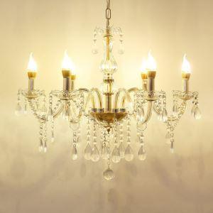 Lustre cristal à 6 lampes d'Or D55cm luminaire pour salon hôtel chambre