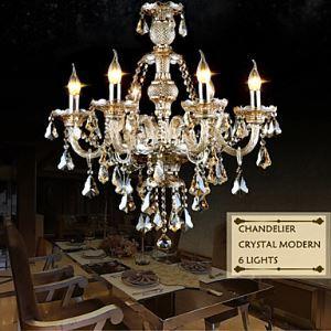 Lustre Cristal Cognac à 6 lampes D63cm luminaire pour Salle Chambre salle à manger