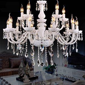 Style moderne Lustre Luxe Cristal Couleur blanc 2 niveaux 12 lumières abat-jour en forme de bougie pour salon chambre hôtel