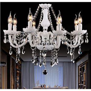 Lustre Luxe Cristal Couleur blanc 8 lumières abat-jour en forme de bougie pour salon chambre hôtel Style moderne