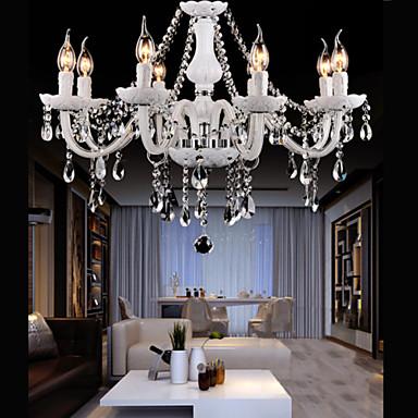 Lustre Luxe Cristal Baroque 8 Lames D 60 Cm Blanc Pour Salon Chambre