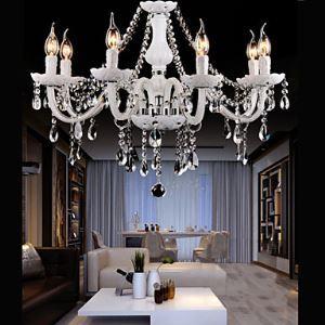 Style moderne Lustre Luxe Cristal Couleur blanc 6 lumières abat-jour en forme de bougie pour salon chambre hôtel
