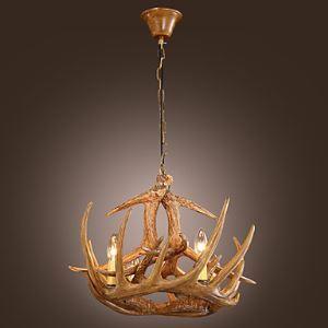 Style Rétro Classique Lustre Cheteliers de cerf en résin bronzante 4 lumières coloris de bois pour salon hôtel